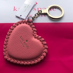 NWT/Authentic KATE SPADE Whipstitch Heart Keychain